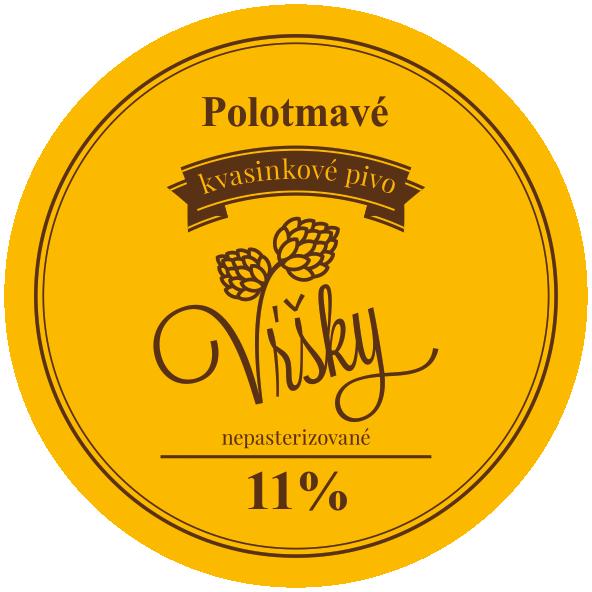 Pivo Vŕšky - polotmavé 11° - etiketa